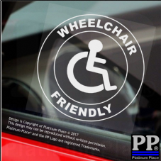 1 x Disabled Wheelchair Friendly-Round-Window Sticker-Sign,Car,Warning,Notice-Disabled,Wheelchair,Friendly,Disability,Mobility